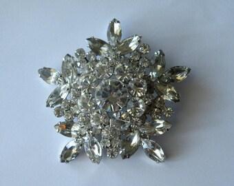 Juliana snowflake clear rhinestone brooch pin