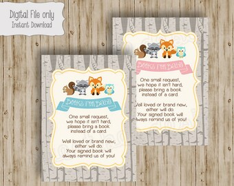 Baby Shower Book Insert, Bring a Book Insert, Bring a Book Instead of a Card, Book Inset Card, Woodland Baby Shower, Woodland Animals