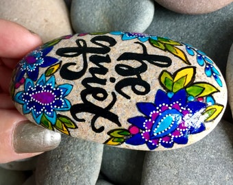 be quiet / be still / painted rocks/ painted stones/ boho art / hippie art / art for altars / hand painted rocks/ meditation/ yoga / stones