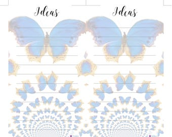 Personal Sized Printable Notes Butterflies Inserts. Compatible with Filofax Personal, Kikki K Medium Planners. Ideas