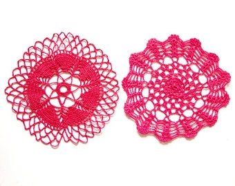 2 pink coral Crochet Doilies Vintage hand dyed doilies