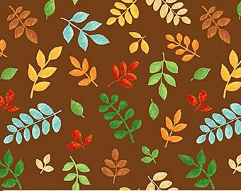 Safari Adventures Brown - Fat Quarter Cut - Northcott Fabric - Cotton Fabric - Quilting Fabric - Leaves Fabric