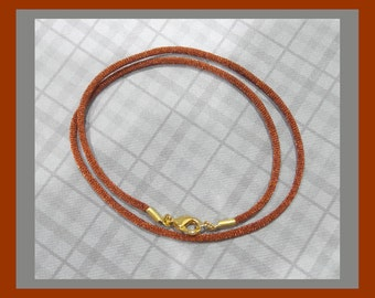 Copper Brown Satin Cord Necklace With Gold Plated or Silver Plated Lobster Clasp, Autumn, Ready to Ship, You Choose Length