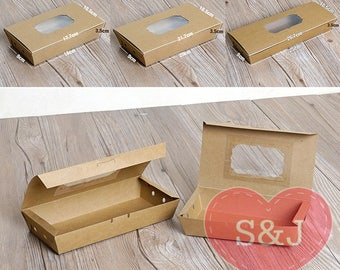 10x Kraft cardboard party food/cake takeaway box tray with lid in multiple sizes