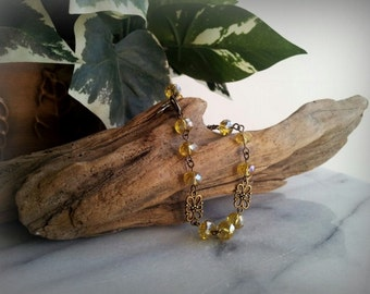 Antique bronze and lemon yellow crystal bracelet