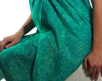 Sarong: Batik Tattoo-Turquoise.  Fine quality 100% cotton voile sarong.  2.1 meters long. Designed by me and printed in India.