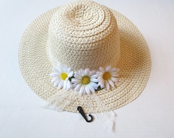 Women Sun Hat - Summer hat -Women's Wide Brim - Daisy- Beach- Pool hat