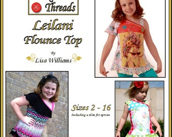 INSTANT DOWNLOAD: Leilani Flounce Knit Top - diy pdf Tutorial eBook Pattern - Sizes 2 to 16 with slim fit options - Great for upcycles