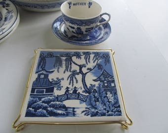 """Blue Willow Tile Cobalt Blue And White Decor 6X6  Ceramic Tile 6x6"""" Tile Coaster Blue Willow Decor Blue Willow Trivet Tea Stand Hot Plate"""