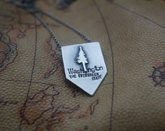 Washington: The Evergreen State (READY TO MAIL) - sterling silver necklace
