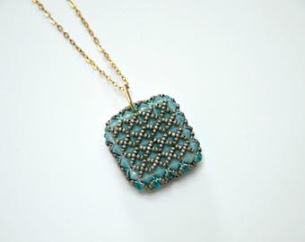 Beadwork Pendant, Beadwork pendant necklace, Blue pendant necklace, Pale Blue pendant necklace,