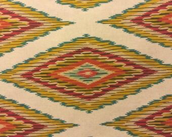 Linen Southwestern Fabric Navajo Blanket Design in Sand Colordaze Linen by Moda Fabrics 1 yard