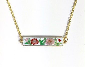 Peony Flower Necklace,Vintage Enamel Necklace, Bar Necklace, Floral Necklace, Pink, Red and White