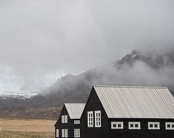 Iceland Print, Iceland Photography, Travel Photography, Iceland Art, Landscape Photography, Fine Art Photography, Houses, Mountain Fog
