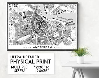 Buildings of Amsterdam print | Physical Amsterdam map print, Amsterdam art, Amsterdam map art, Amsterdam wall art
