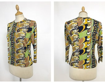 Vintage 1960s 1970s psychedelic print blouse shirt - size S/M