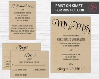 Wedding Invitation Printable Suite, Printable Wedding Invitation, DIY Wedding Invitation Set, caligraphy wedding invitation, Rustic, simple