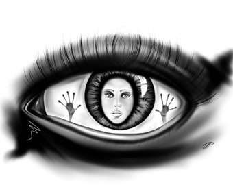 Woman trapped inside one eye/abstract/abstract/surreal/digital Art