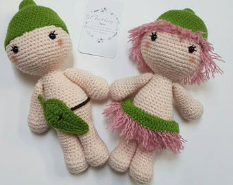 Snugglepot and Cuddlepie, crochet bush fairies, amigurumi dolls, Australian babies, Gumnut babies