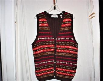 Vintage 80s 2X Brown Ramie Cotton Knit Vest Karen Scott II Stripe