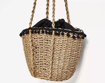 Straw bag, shoulder straw madagascar embroidered straw shoulder, shoulder straw straw shoulder bag, beach bag, trendy, boh