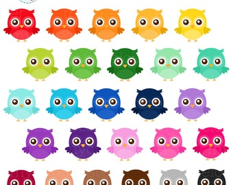 Rainbow Owls Clipart Set - owls, rainbow, cute owls, clip art of owls, bright owl - personal use, small commercial use, instant download