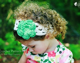 """CROCHET HEADBAND PATTERN - """"A Touch of Spring"""" - All sizes: Baby, child, teen, adults - Easy - pdf 303"""