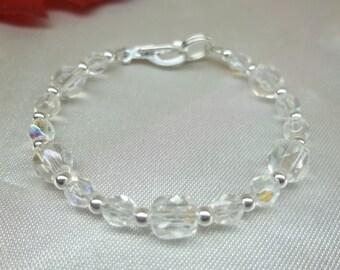 Girls Clear Crystal Bracelet Childs Bracelet Toddler Bracelet Adjustable Bracelet 925 Sterling Silver Bracelet BuyAny3+Get 1 Free