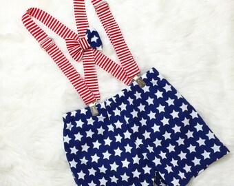 Navy Star Shorts, American Flag Bow Tie- boys 4th of July outfit, star shorts, 4th of July shorts