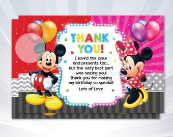Mickey Thank you card - boy birthday party - boy invitation - pink blue invitation - personalized