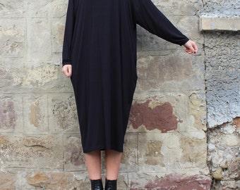 Black Maxi dress/ Midi dress/ Plus size dress/ Oversized dress/ Long sleeve dress/ Casual dress/ Day dress/ Plus size clothing