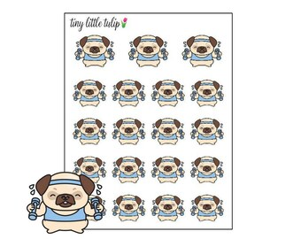 Planner Stickers Pug Workout Dumbbells