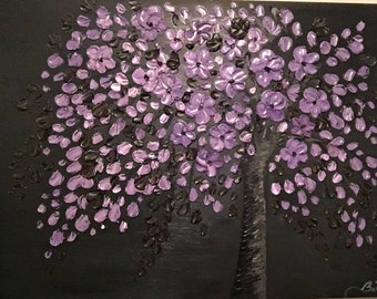"Purple & Dark Brown on Black Cherry Blossom Tree Impasto Palette Knife Oil Painting 30"" X 40"" by: Britney Rendall"