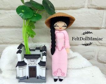 Vietnamese Ao Dai Doll. Miss Viet. Felt Doll. PDF Pattern. PDF Tutorial. Dolls of the world.
