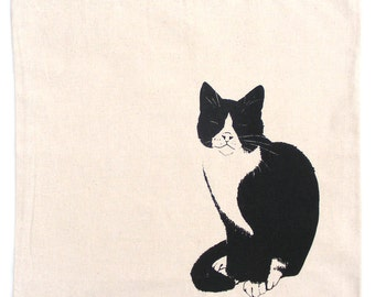 Fair trade cat bag Hand silkscreen printed tote kitten cat lady