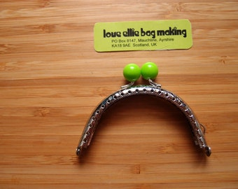 Gumball Engraved Curved Sew-in Purse Frame - COLOUR LIME GREEN Purse Frame - 3.1 inch - Make your own purse no glue required - sewing holes