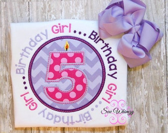 Birthday Girl shirt- Birthday applique shirt- Girl's Birthday Shirt- Number Shirt- Birthday Candle shirt- monogram Birthday- Custom Birthday