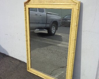 Mirror Faux Bamboo Vanity Bedroom Decor Hollywood Regency Chinoiserie Bohemian Boho Chic Campaign Mid Century Modern CUSTOM PAINT AVAILABLE