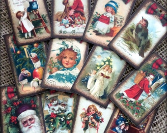 Set of 12 Traditional Vintage Christmas Gift Tags