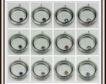 Birthstone Floating Charm for Glass locket / Floating Locket / Memory Locket