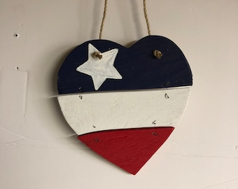 Red White and Blue Heart with lone star