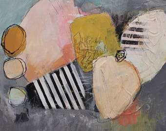 """Abstract painting in soft colors 12 x 12   on cradled wood  """"The Moment""""  Original by artist and author Jodi Ohl"""