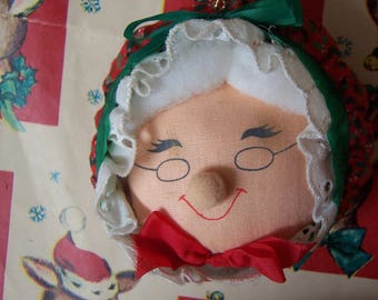 stuffed fabric mrs. santa head ornament