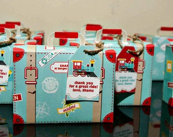 DIY Printable Suitcase Favor Box by Mulberry Paperie - Choo Choo Train