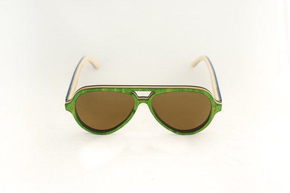 skateboard recycled sunglasses PIPE shape ! green brown color #madeinfrance #upcycle