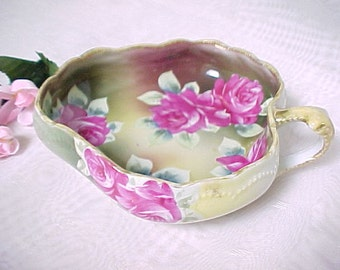 Antique Nippon Hand Painted Nappy With Blue Maple Leaf Mark, Collectible Porcelain Candy Dish With Handle, Pink Roses With Gold Gilt Trim