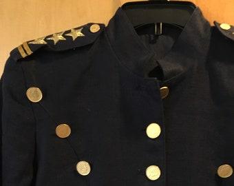 Vintage Military Jacket Cache Blazer Navy Blue Linen P Petite 6 8 Napoleon