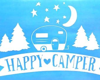 Happy Camper Vinyl Decal Sticker - Camping - Die Cut, Custom Car Window, Laptop, Tumbler, Water Bottle, Bumper - You Choose Color