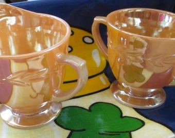 Vintage FIre King Peach Luster Laurel Leaf pattern Cream and Sugar set - Estate find!