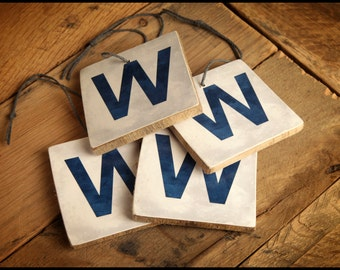 "Chicago Cubs ""W"" Win Reclaimed Wood Christmas Ornaments"